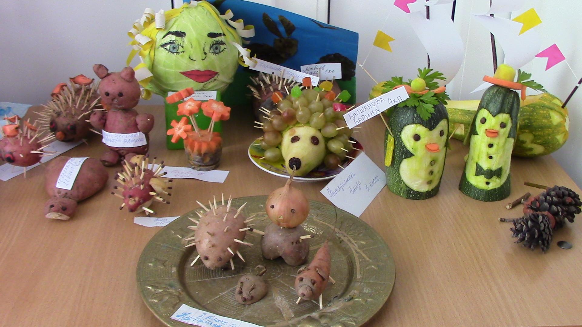 Поделки из овощей на выставку в школу фото из фруктов